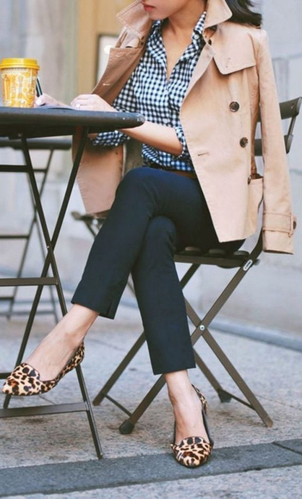 trench coat gingham shirt leopard shoes