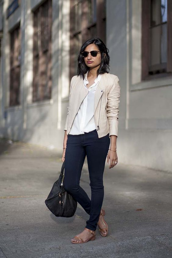 leather jacket cream with black jeans