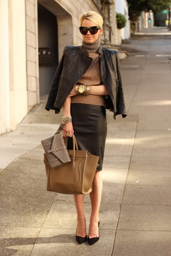 leather jacket with pencil skirt and sweater