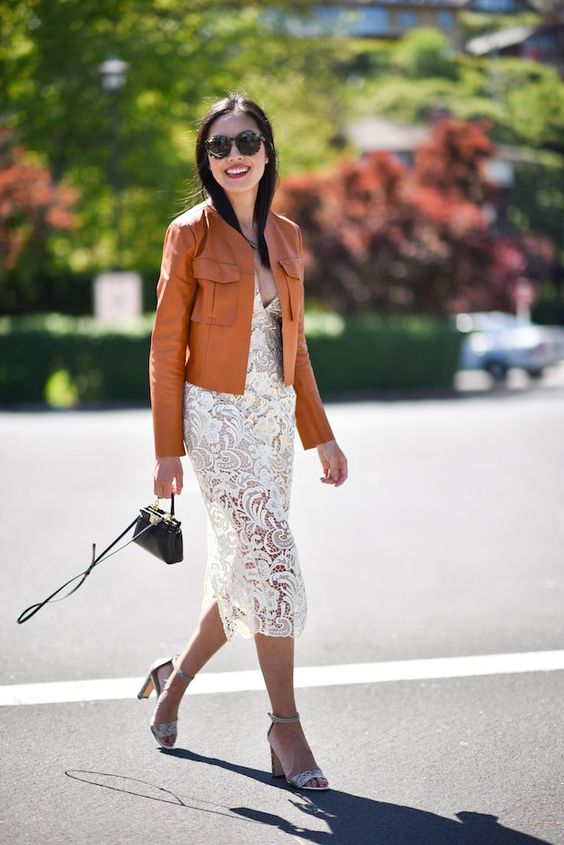 leather jacket with lace dress so chic