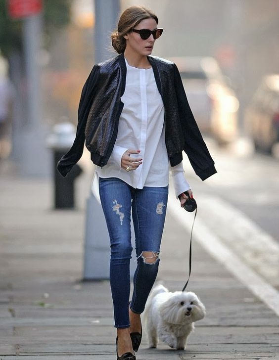 leather jacket black with white blouse jeans and flats