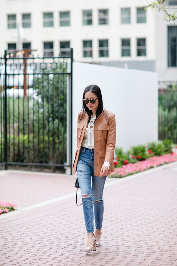 leather jacket brown with jeans and heels