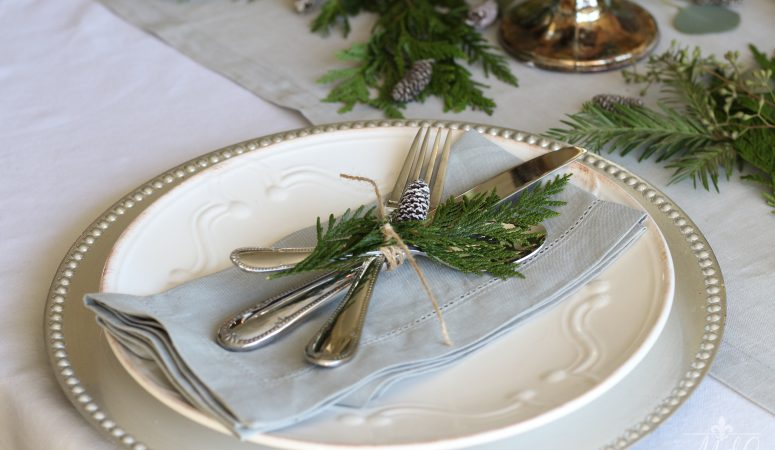 A Gorgeous Christmas Tablescape featuring Paperwhites and Greenery