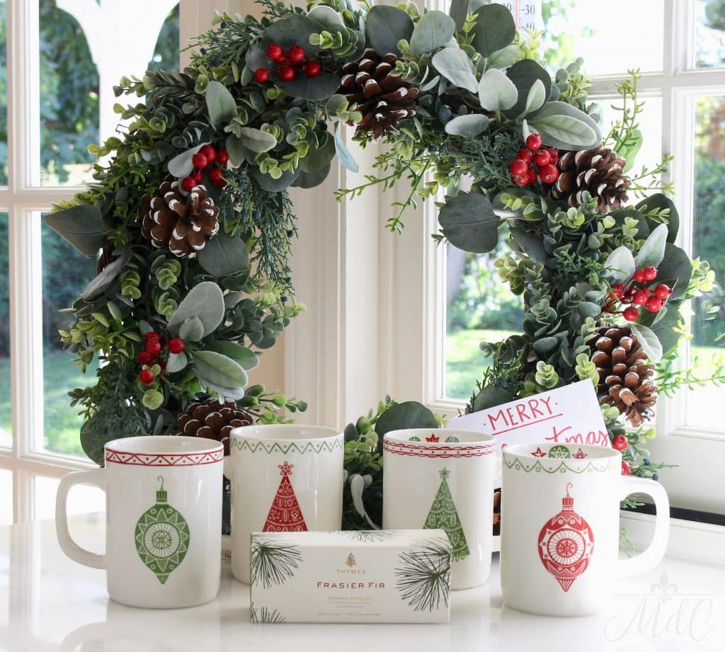 bHome app Christmas wreath mugs and candles giveaway