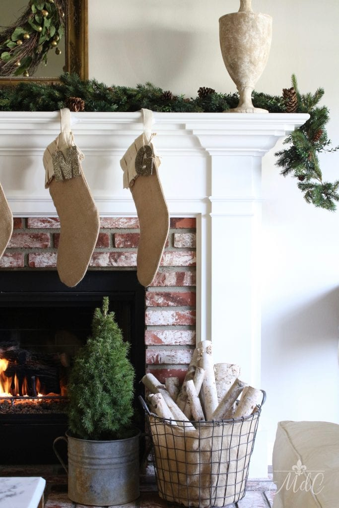 french christmas tour burlap stockings fireplace mantel logs
