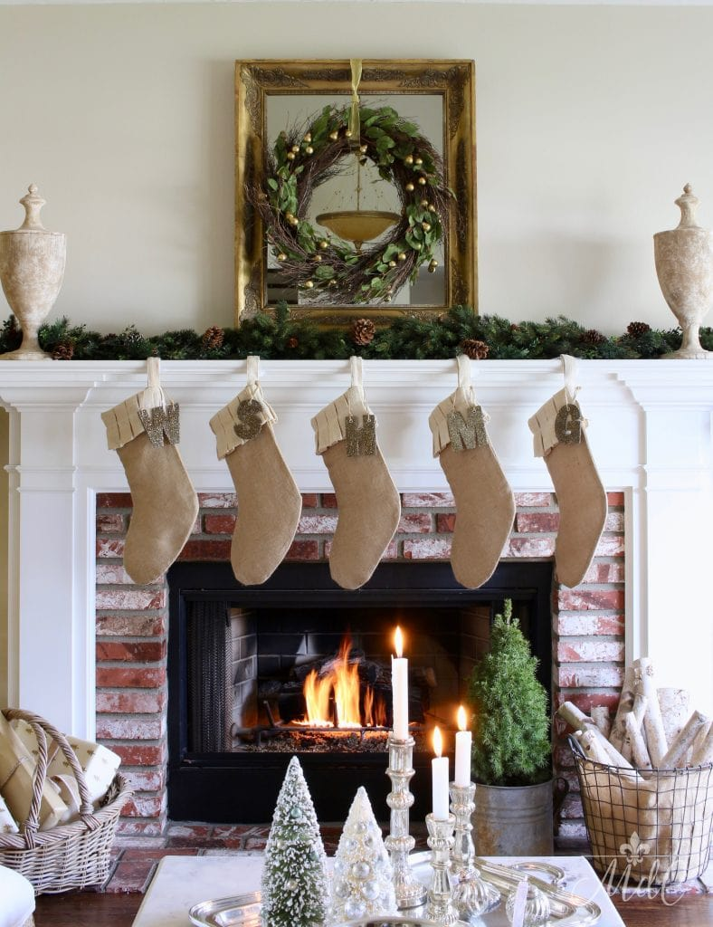 french christmas tour decor mantel wreath fireplace