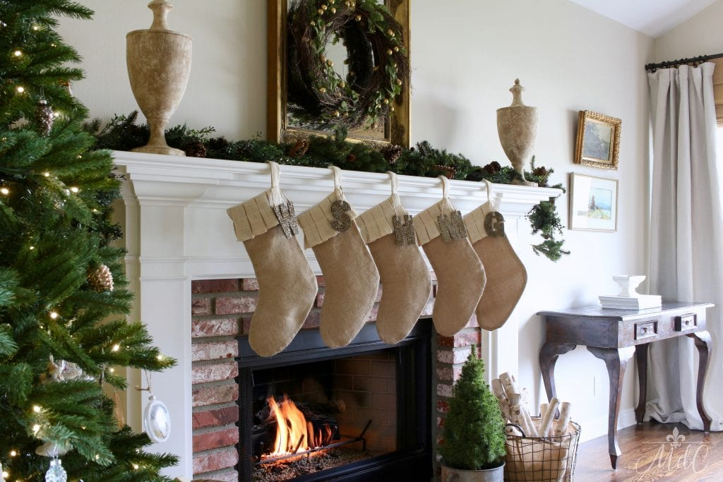 french christmas tour mantel burlap stockings mirror wreath gorgeous decor natural neutral colors