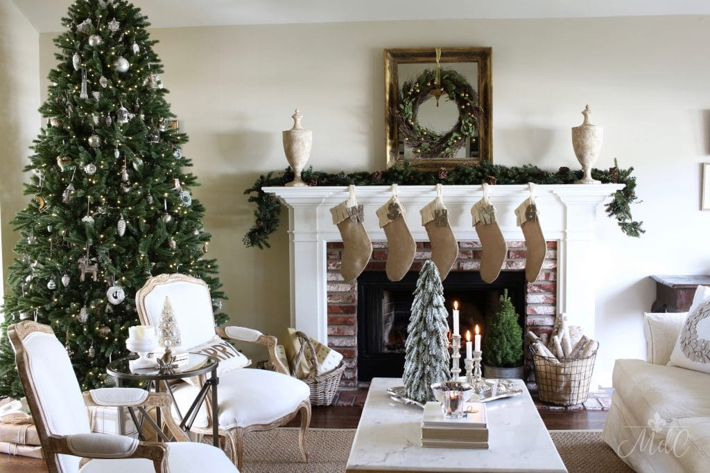 french christmas tour gorgeous living room neutral decor christmas tree mantel fireplace stockings