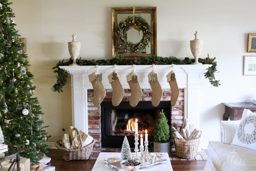 french christmas tour neutral decor gorgeous living room mantel wreath stockings
