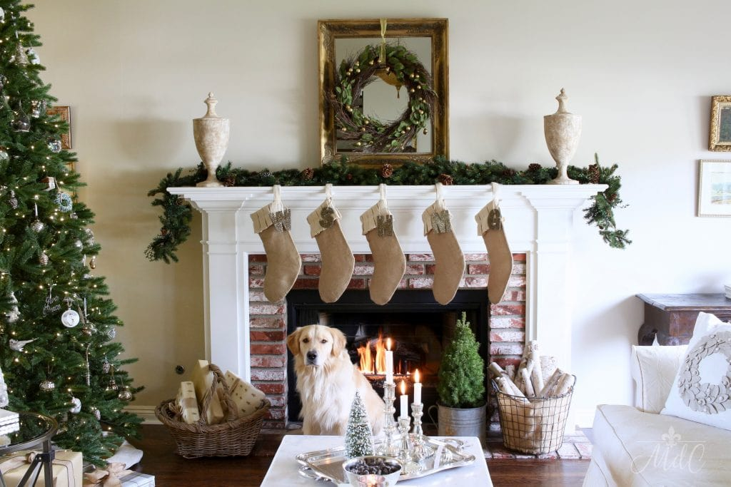 french christmas tour gorgeous living room mantel christmas tree wreath stockings golden retriever neutral decor