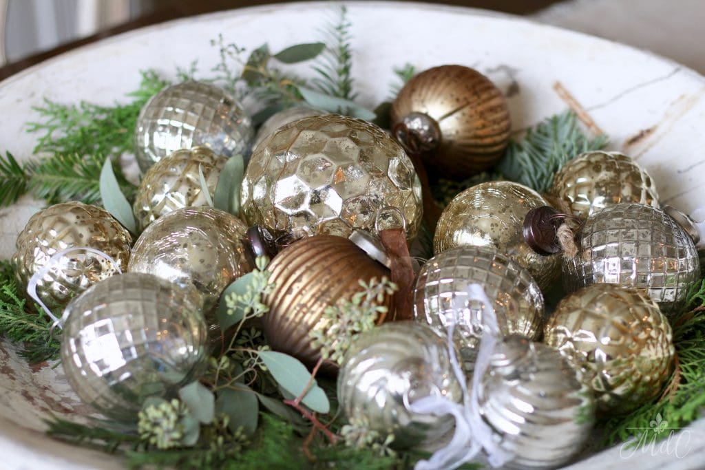 french christmas tour mercury glass ornaments in antique white dough bowl