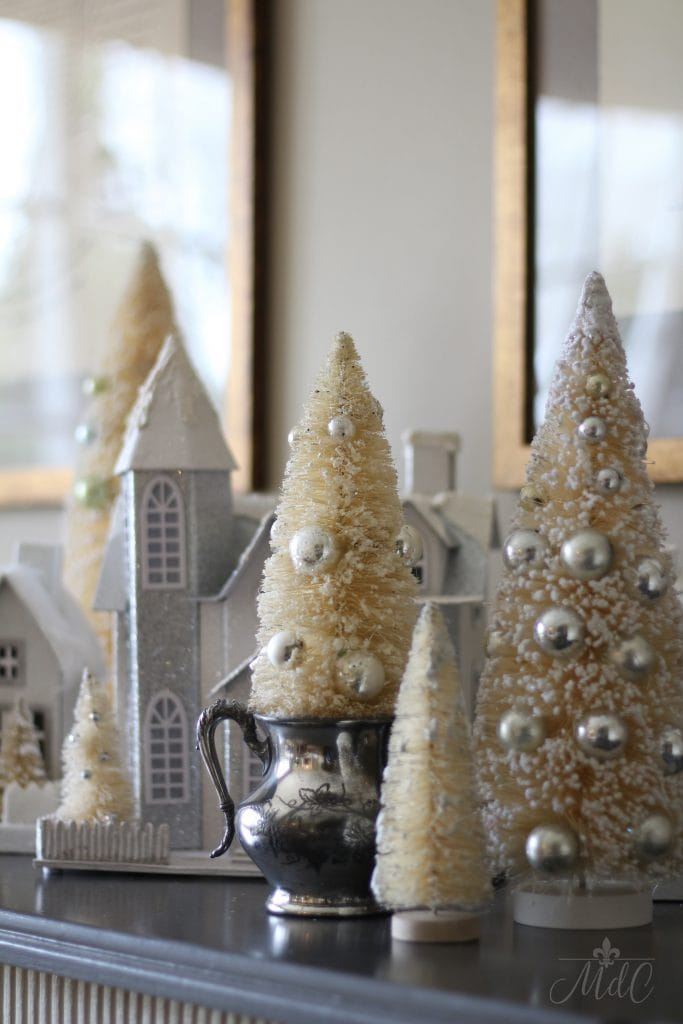 french christmas tour vintage bottle brush trees white houses christmas decor charming