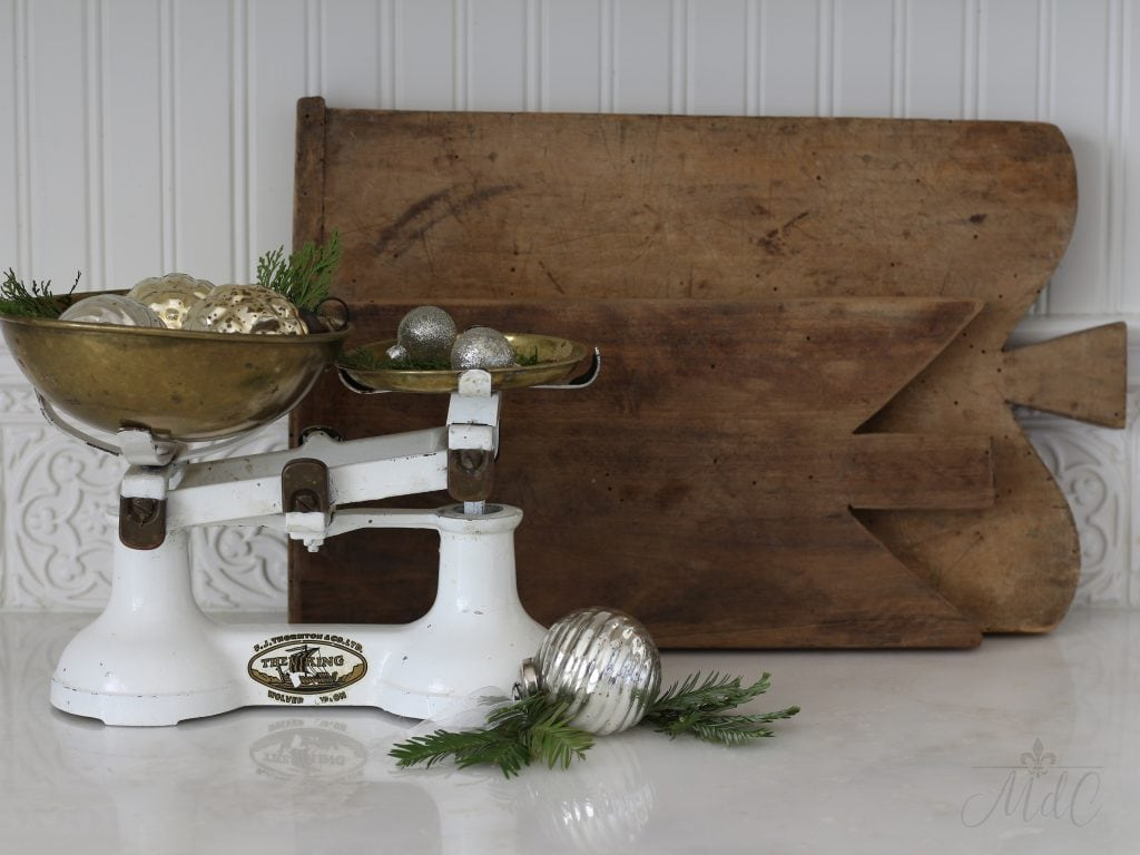 christmas kitchen vignette vintage scale bread boards ornaments holiday decorating