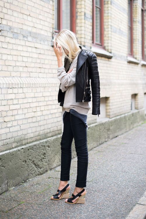 leather jacket with black jeans and a sweater cute fall outfit
