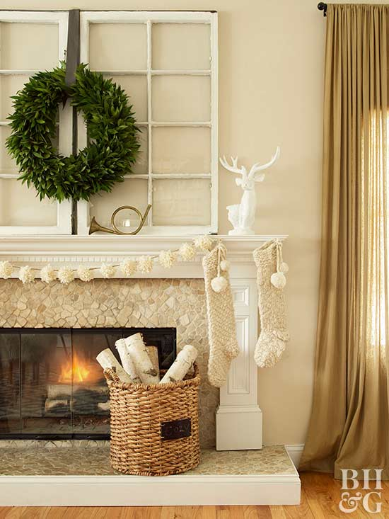 neutral christmas decor simple wreath mantel decor