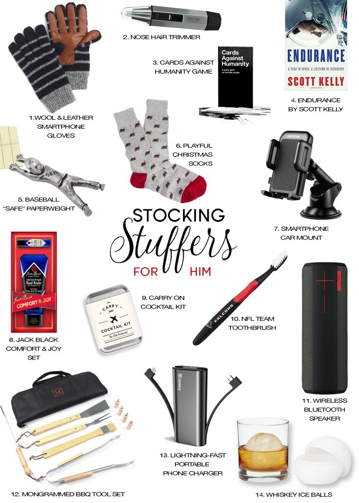 stocking stuffer gift guide for him men holiday christmas gifts ideas