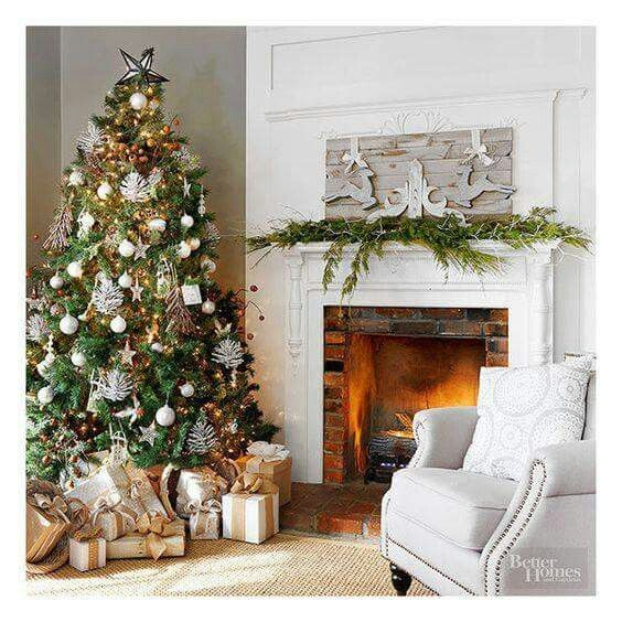 neutral christmas decor natural greens tree living room mantel decor