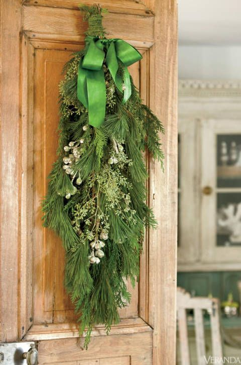 neutral christmas decor swag greenery gorgeous