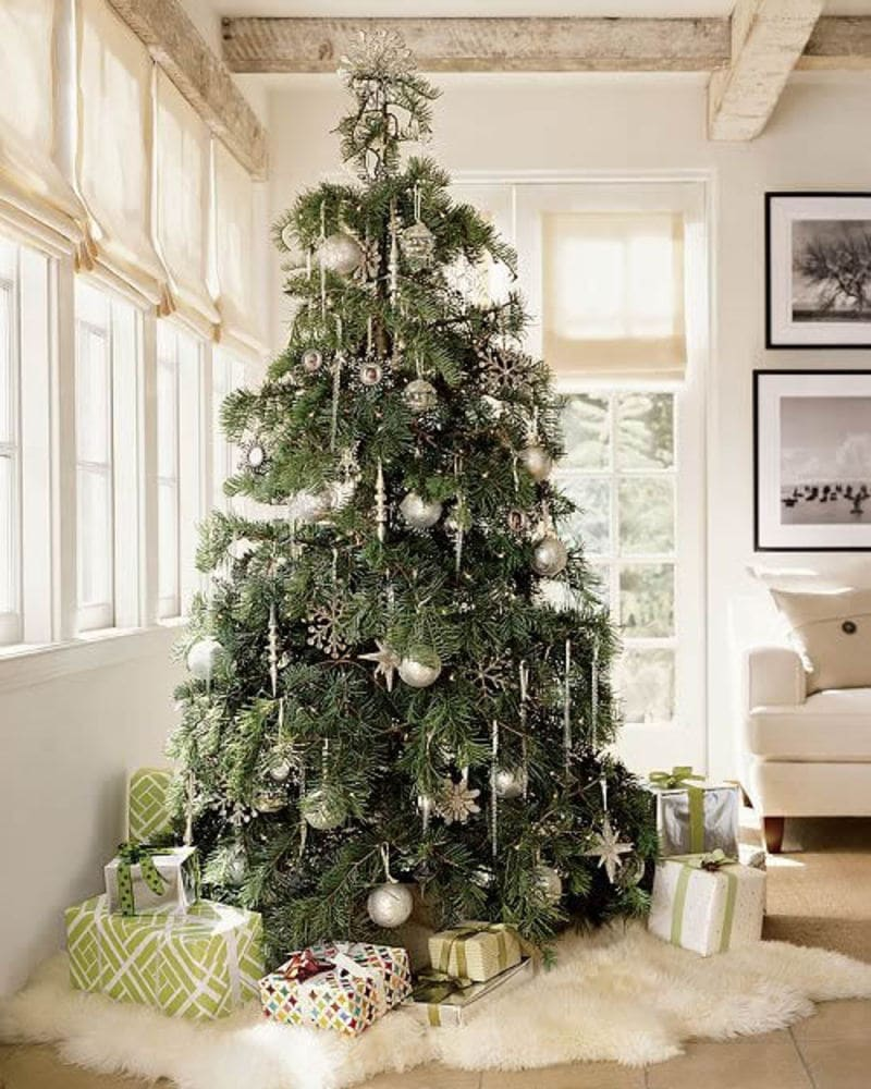 neutral christmas decor tree silver decor ornaments white living room