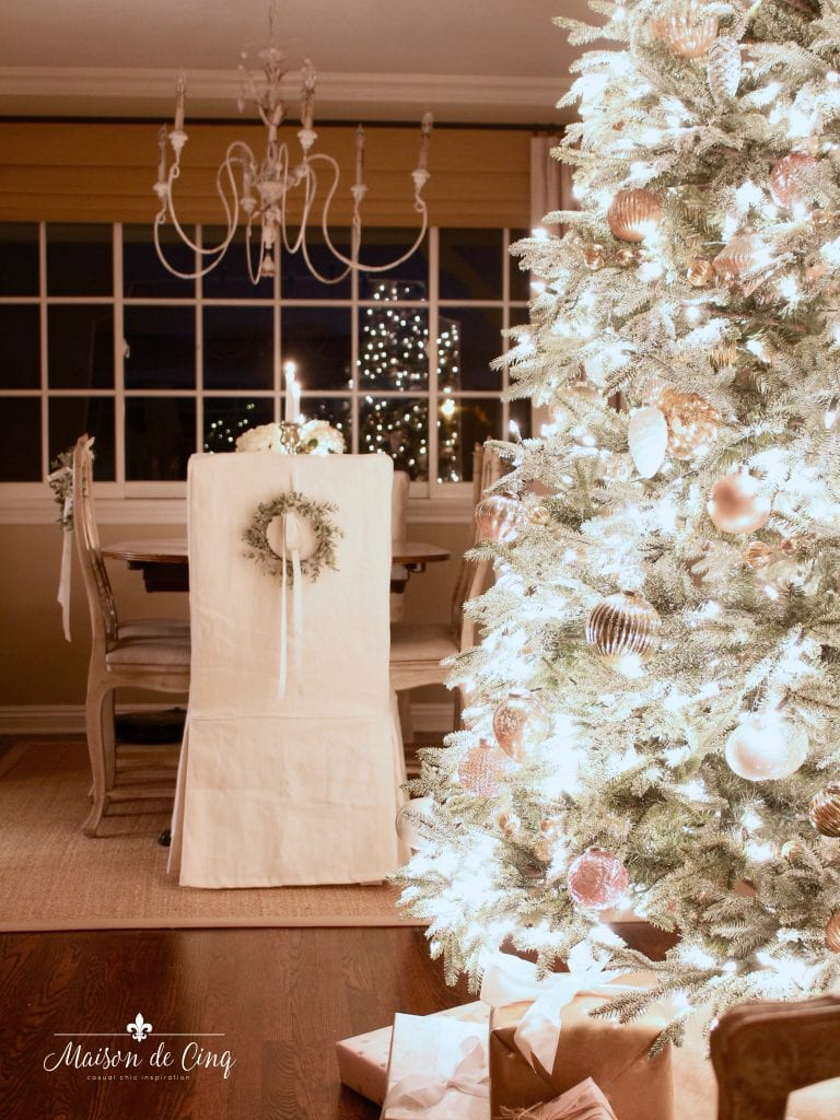 Christmas nights tour tree lit up with French country dining room in background