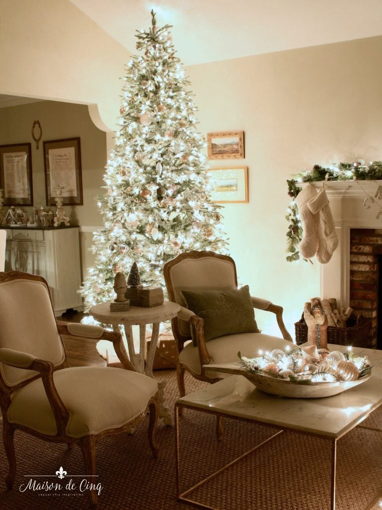 Christmas nights tour french country living room with tree lit up garland stockings