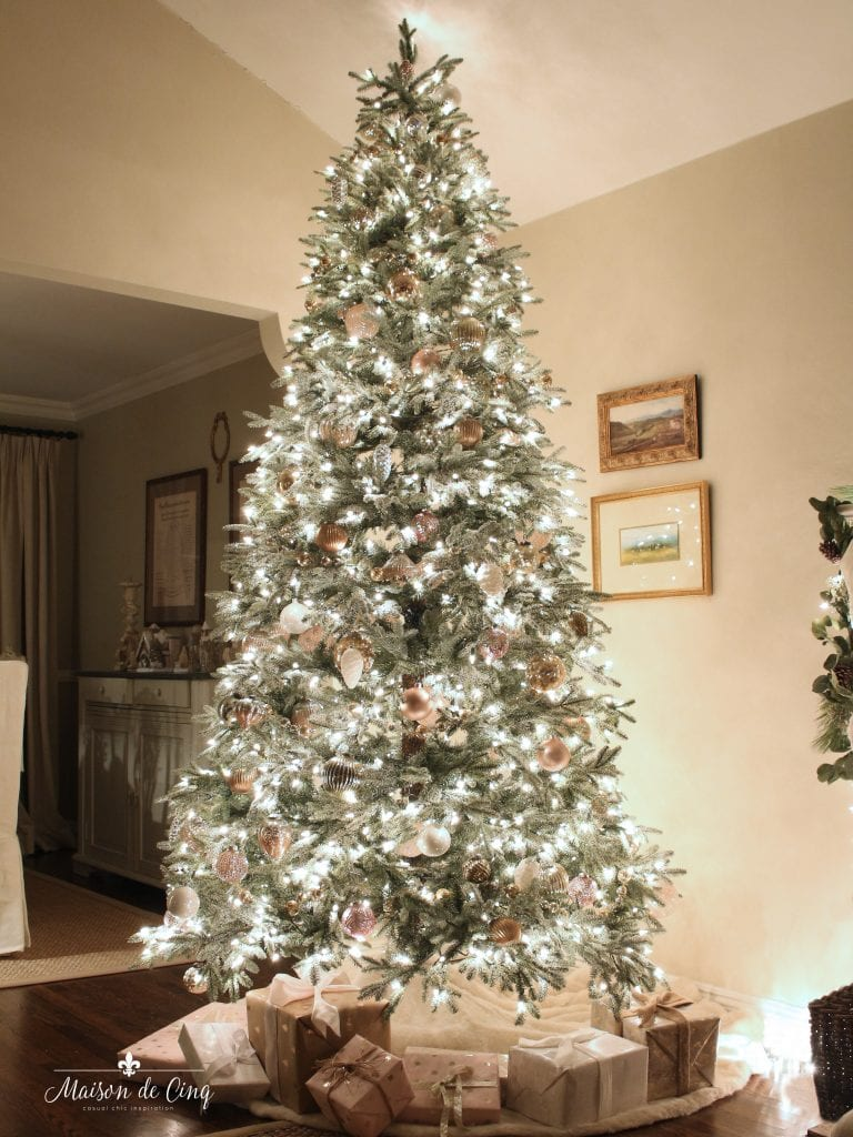 Christmas nights tour tree lit up in blush and white holiday decor
