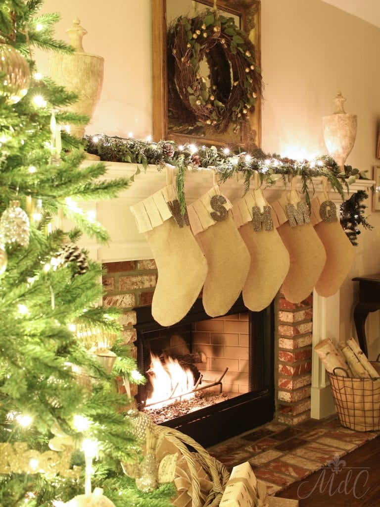 christmas nights tour tree stockings fireplace decor holiday decorating