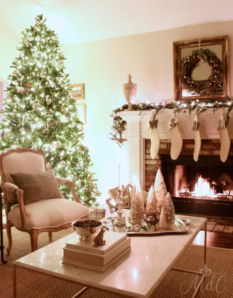 christmas nights living room tree sparkle twinkle lights fireglow stockings gorgeous holiday decor