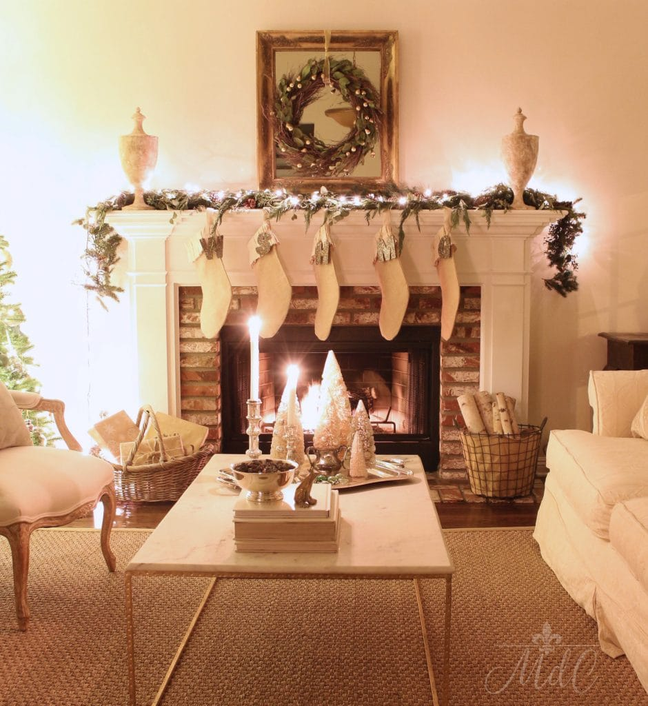 christmas nights fireplace mantel stockings french country gorgeous living room holiday