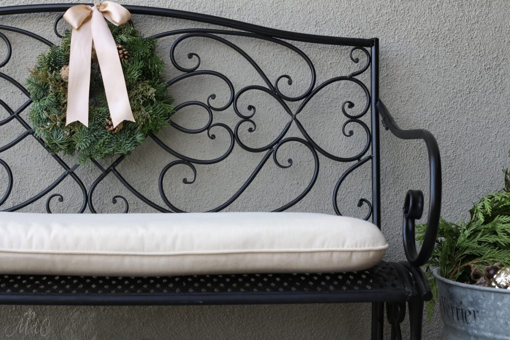 christmas front porch bench wreath ribbon charming