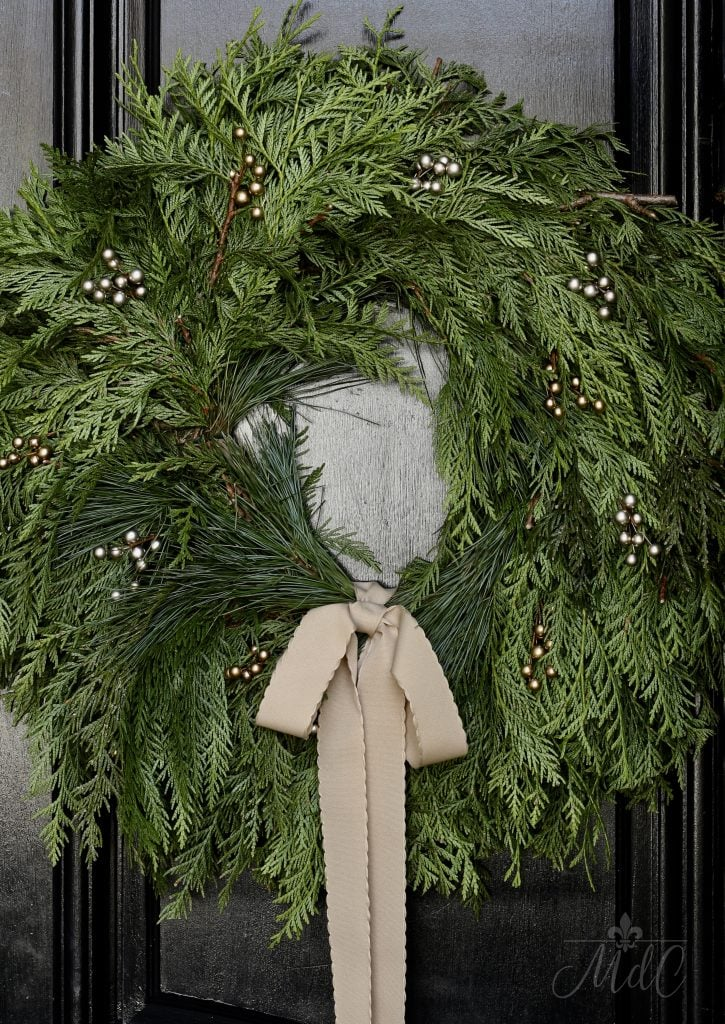 christmas front porch wreath gold copper beads tan ribbon stunning