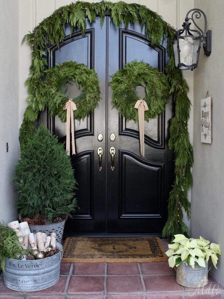 christmas front porch gorgeous black front doors with wreaths and garland holiday decor