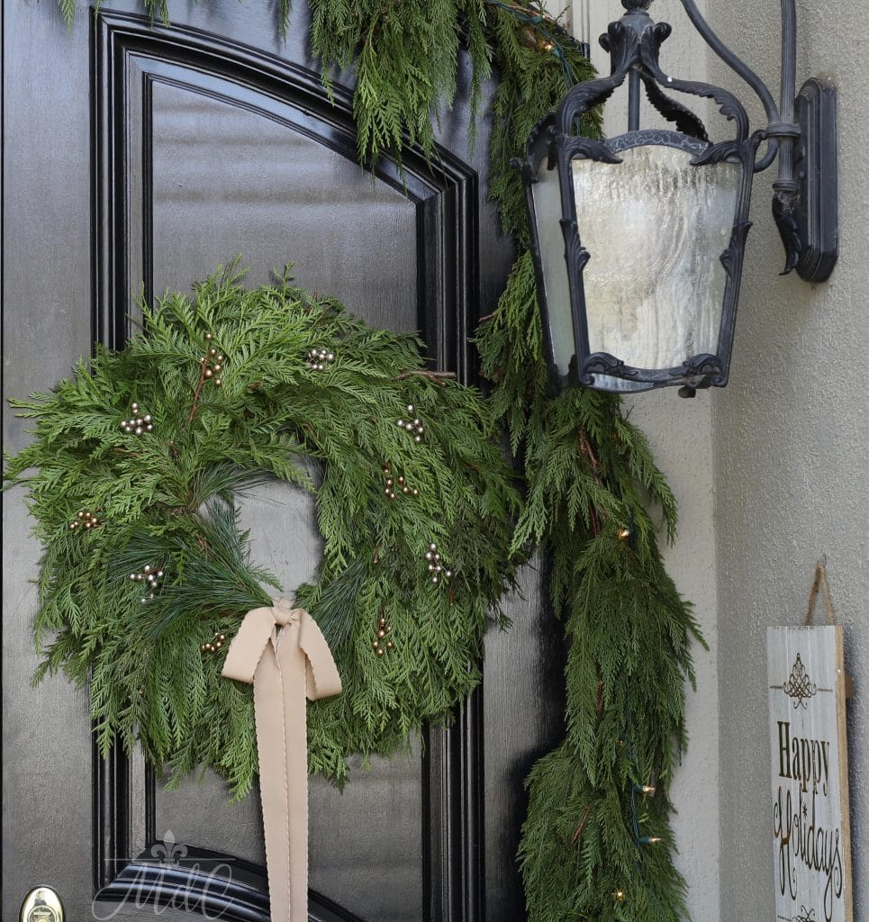 christmas front porch wreath black door french lantern holidays
