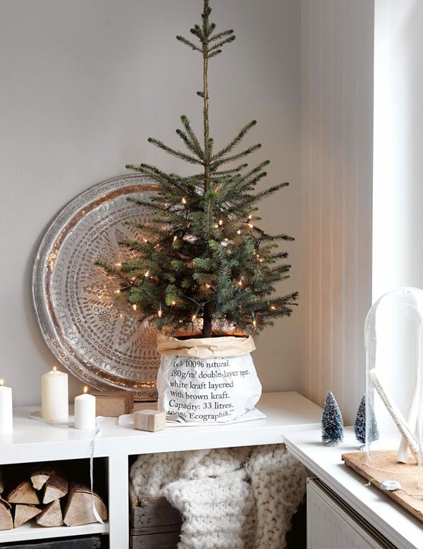 neutral christmas decor tabletop tree simple holiday decor