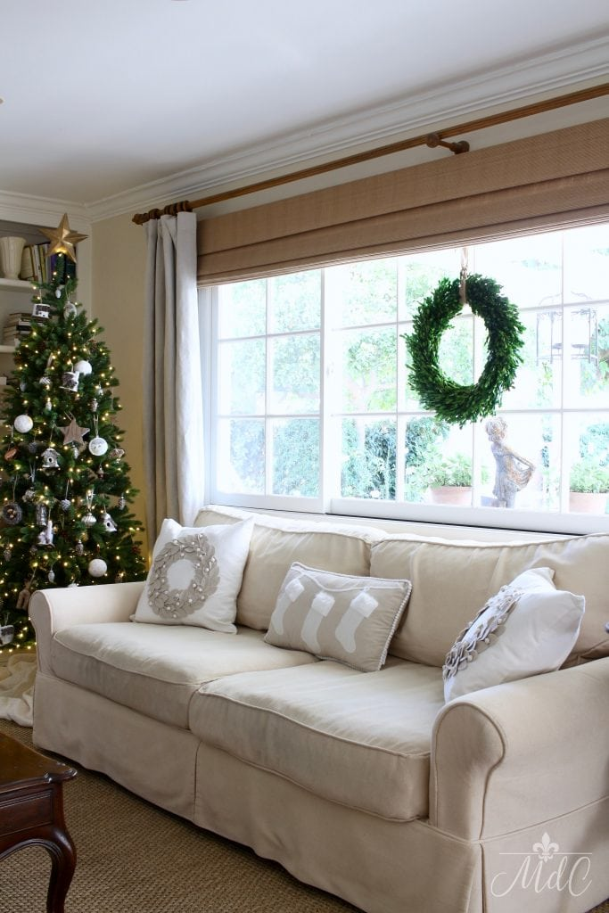 french inspired christmas wreath window couch christmas tree