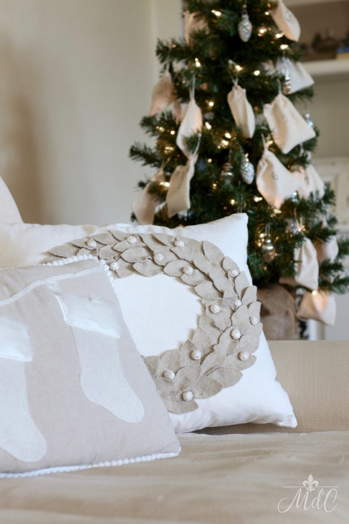french inspired christmas decor pillows neutrals christmas tree