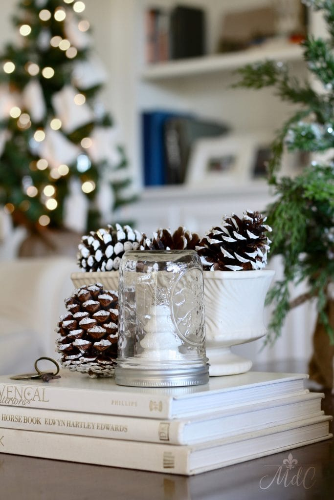 french inspired christmas decor pinecones christmas tree charming vignette