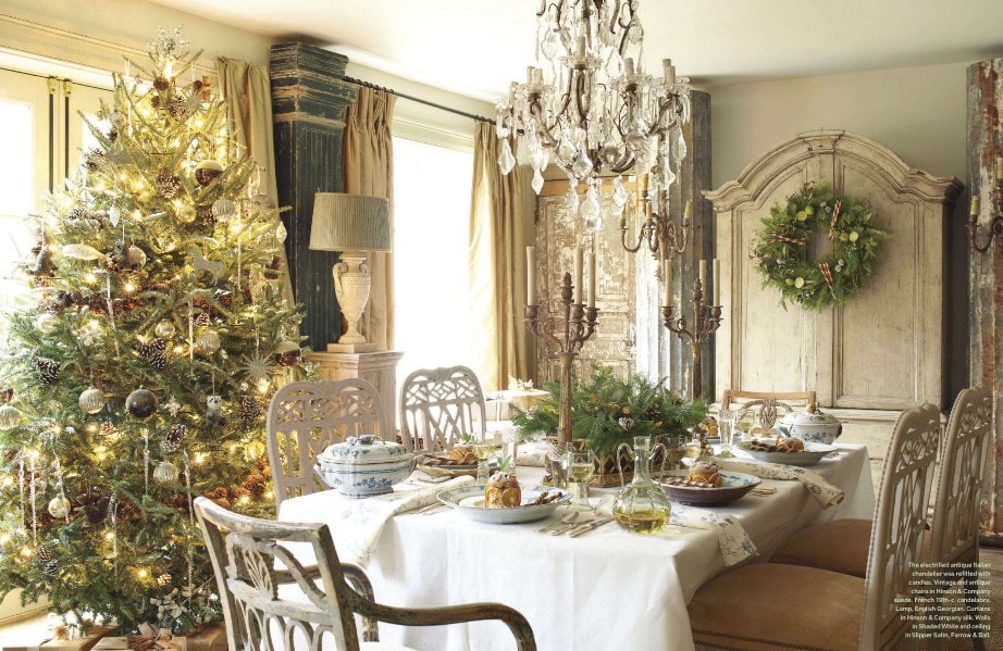 neutral christmas decor dining room stunning tree wreath tablesetting