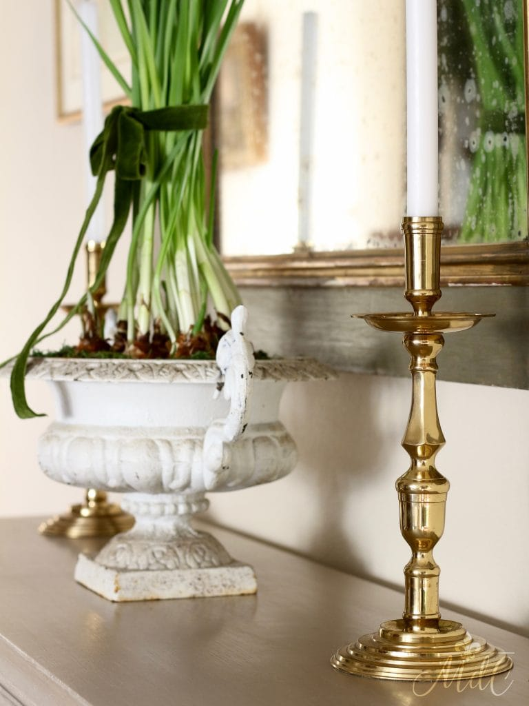 christmas entryway paperwhites brass candlesticks gorgeous holiday decor