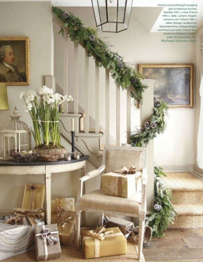 neutral christmas decor french country banister garland paperwhite stunning