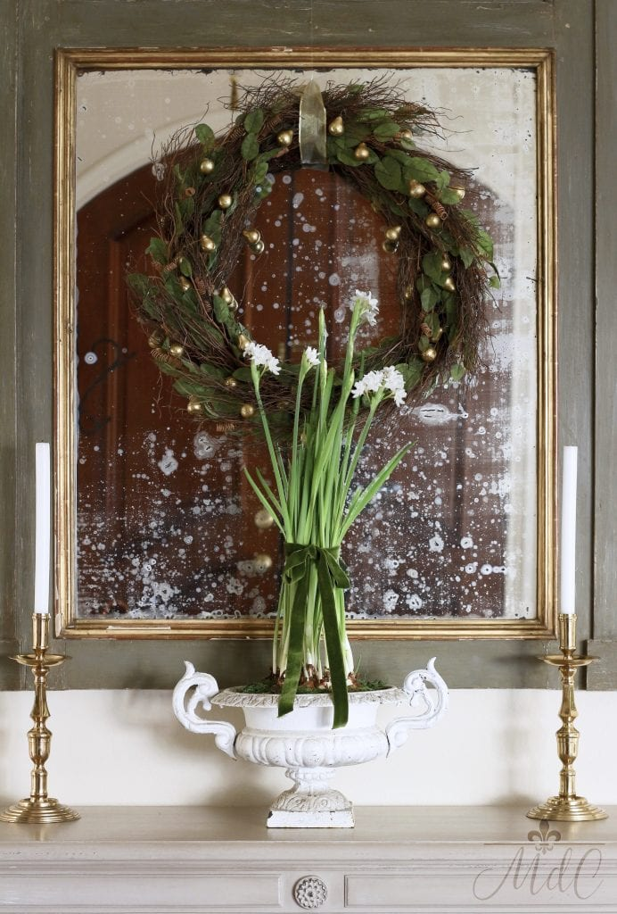 christmas entryway gorgeous mirror candlesticks vintage urn paperwhites