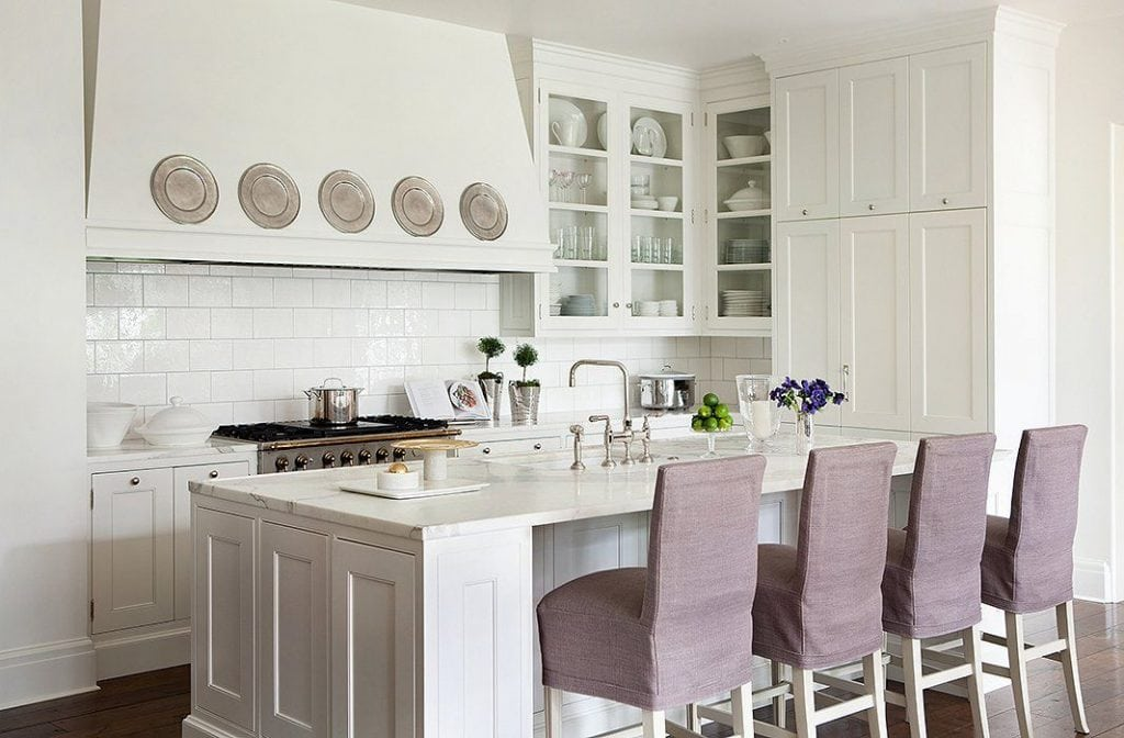 violet pantone color of the year barstools white kitchen suzanne kasler