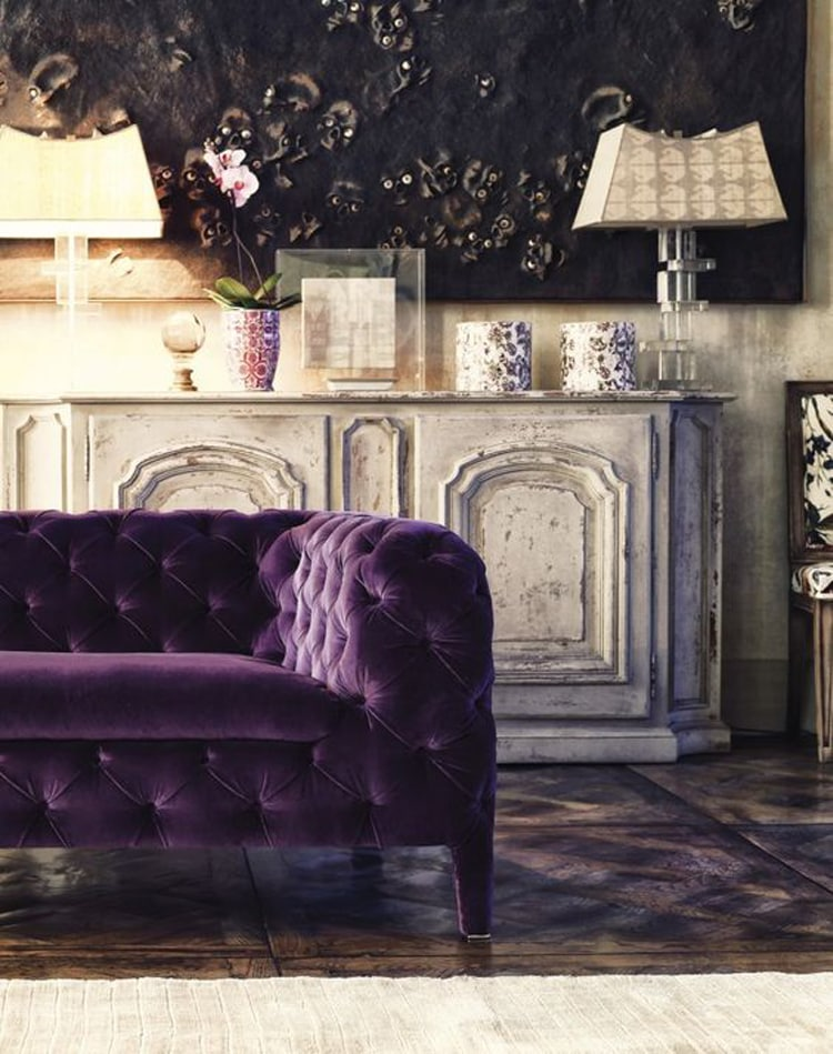 violet pantone color of the year tufted velvet sofa antiques gorgeous decor