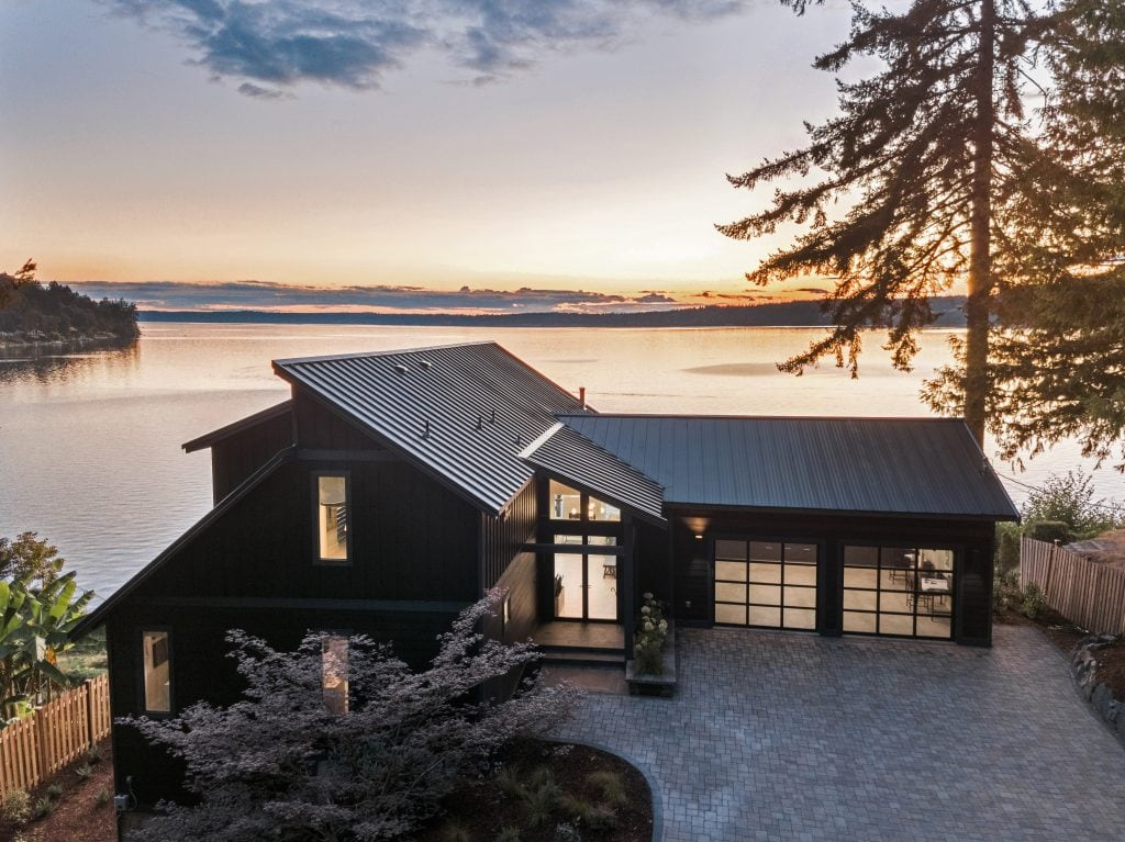 HGTV Dream Home front view house sunset water view stunning pacific northwest