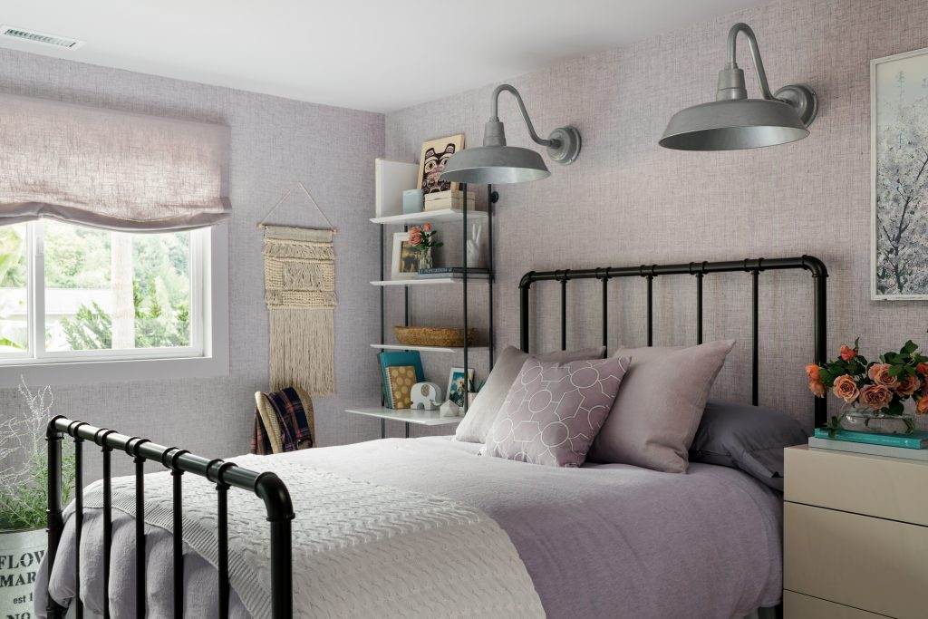HGTV Dream Home mauve lavender bedroom sconces roman shade iron bed