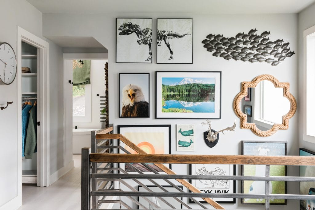 HGTV Dream Home gallery wall stairwell art collection