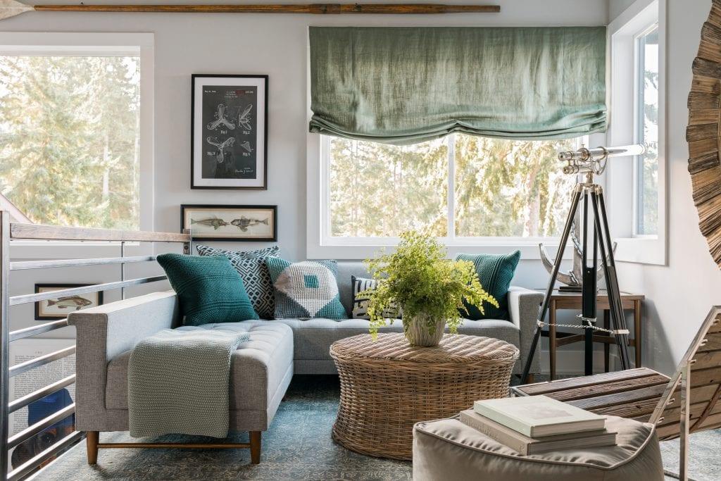 HGTV Dream Home master bedroom sitting area roman shade wicker table