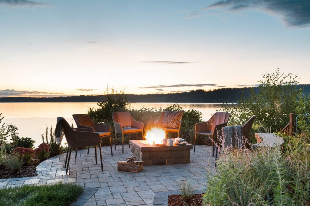 HGTV Dream Home fire pit sitting area water view sunset