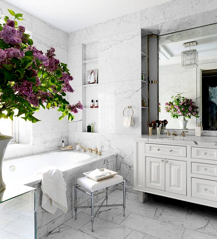 violet flowers white bathroom stunning