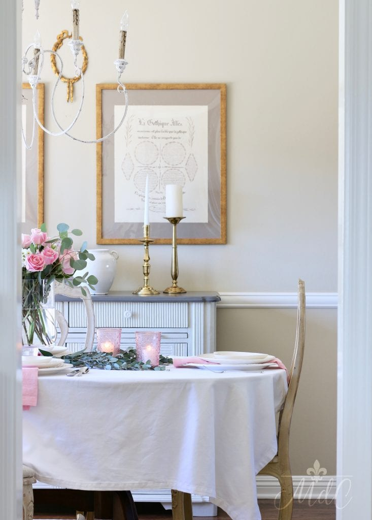 simple valentine's day table french inspired dining room pink and white gorgeous